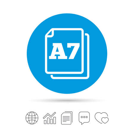 a7: Paper size A7 standard icon. File document symbol. Copy files, chat speech bubble and chart web icons. Vector