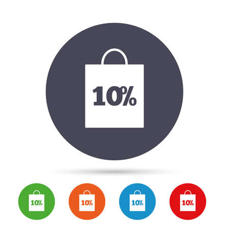 ten best: 10% sale bag tag sign icon. Discount symbol. Special offer label. Round colourful buttons with flat icons. Vector