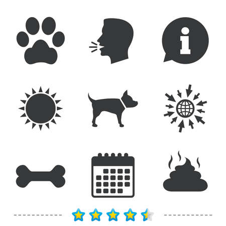 feces: Pets icons. Dog paw and feces signs. Clean up after pets. Pets food. Information, go to web and calendar icons. Sun and loud speak symbol. Vector Illustration