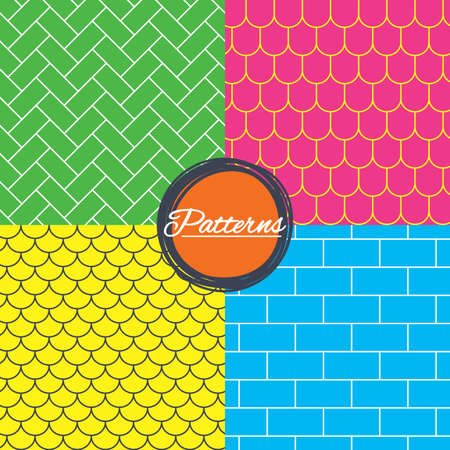 Bricks, tile roof and paving stone seamless textures. Linear geometric patterns. Modern textures. Abstract patterns with colored background. Vector