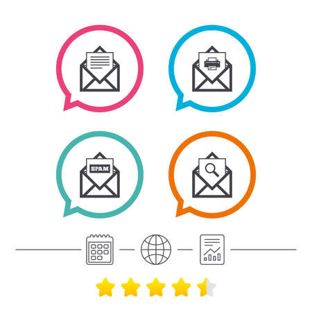 webmail: Mail envelope icons. Print message document symbol. Post office letter signs. Spam mails and search message icons. Calendar, internet globe and report linear icons. Star vote ranking. Vector