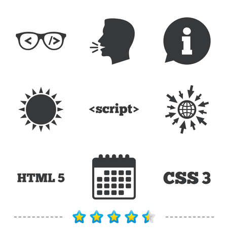 hypertext: Programmer coder glasses icon. HTML5 markup language and CSS3 cascading style sheets sign symbols. Information, go to web and calendar icons. Sun and loud speak symbol. Vector