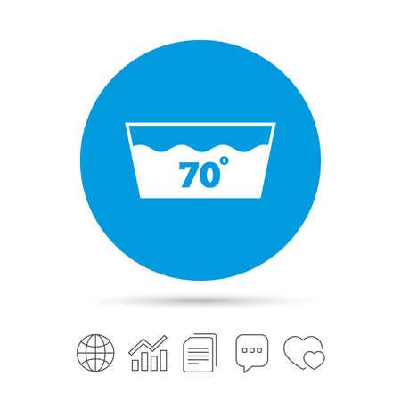 Symbol waschen Maschinenwaschbar bei 70 Grad. Kopieren Sie Dateien, Chat-Sprechblasen und Diagrammnetzikonen. Vektor