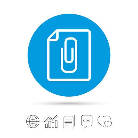 attach: File annex icon. Paper clip symbol. Attach symbol. Copy files, chat speech bubble and chart web icons. Vector Illustration