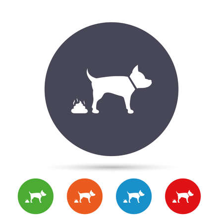 feces: Feces sign icon. Clean up after pets symbol. Put it in the bag. Round colourful buttons with flat icons. Vector