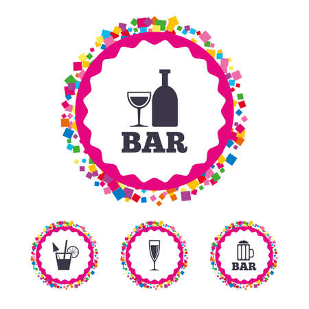 Web buttons with confetti pieces. Bar or Pub icons. Glass of beer and champagne signs. Alcohol drinks and cocktail symbols. Bright stylish design. Vector