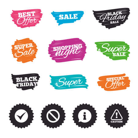 hazard stripes: Ink brush sale banners and stripes. Information icons. Stop prohibition and attention caution signs. Approved check mark symbol. Special offer. Ink stroke. Vector