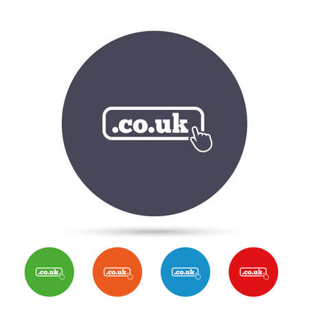subdomain: Domain CO.UK sign icon. UK internet subdomain symbol with hand pointer. Round colourful buttons with flat icons. Vector Illustration