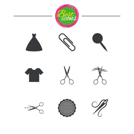 canva: Tailor, sewing and embroidery icons. Scissors, safety pin and needle signs. Shirt and dress symbols. Classic simple flat icons. Vector