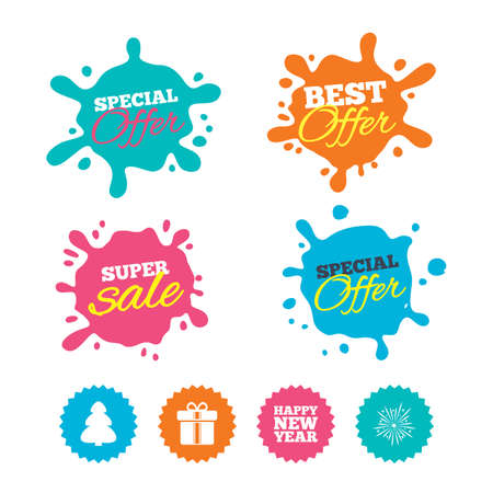 Best offer and sale splash banners. Happy new year icon. Christmas tree and gift box signs. Fireworks explosive symbol. Web shopping labels. Vector