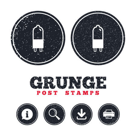 enchufe de luz: Grunge post stamps. Light bulb icon. Lamp G9 socket symbol. Led or halogen light sign. Information, download and printer signs. Aged texture web buttons. Vector