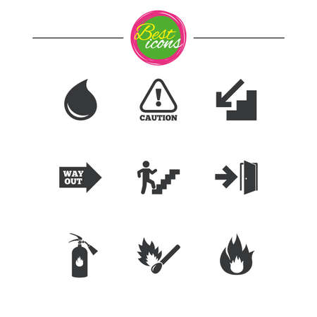 burn out: Fire safety, emergency icons. Fire extinguisher, exit and attention signs. Caution, water drop and way out symbols. Classic simple flat icons. Vector Illustration