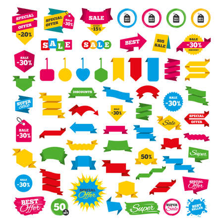 reductions: Web banners and labels. Special offer tags. Sale price tag icons. Discount special offer symbols. 50%, 60%, 70% and 80% percent sale signs. Discount stickers. Vector Illustration