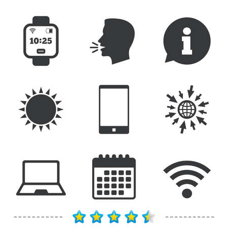 Notebook and smartphone icons. Smart watch symbol. Wi-fi and battery energy signs. Wireless Network symbol. Mobile devices. Information, go to web and calendar icons. Sun and loud speak symbol. Vector Illustration