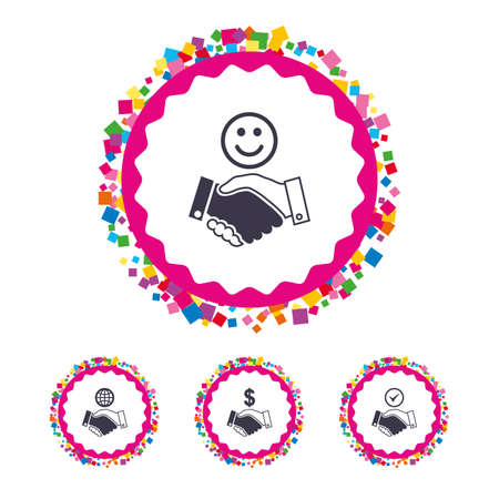 Web buttons with confetti pieces. Handshake icons. World, Smile happy face and house building symbol. Dollar cash money. Amicable agreement. Bright stylish design. Vector Illustration