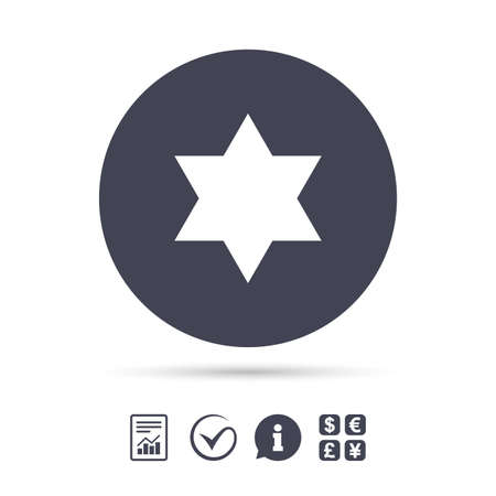 hexagram: Star of David sign icon. Symbol of Israel. Jewish hexagram symbol. Shield of David. Report document, information and check tick icons. Currency exchange. Vector