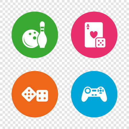 playing video game: Bowling and Casino icons. Video game joystick and playing card with dice symbols. Entertainment signs. Round buttons on transparent background. Vector