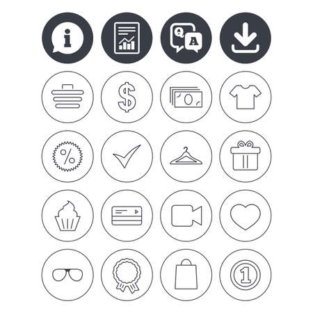 qa: Information, download and report signs. Shopping icons. Shopping cart, dollar currency and cash money. Shirt clothes, gift box and hanger. Credit or debit card. Question and answer or Q&A symbol