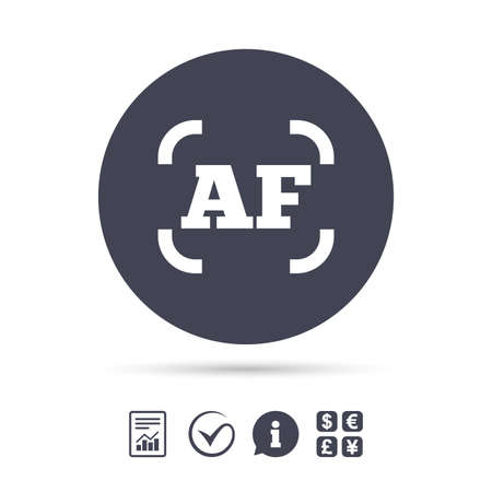 auto focus: Autofocus photo camera sign icon. AF Settings symbol. Report document, information and check tick icons. Currency exchange. Vector Illustration
