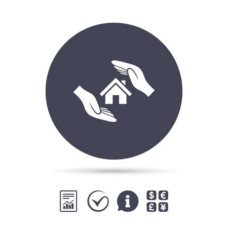 house exchange: House insurance sign icon. Hands protect cover symbol. Insurance of property. Report document, information and check tick icons. Currency exchange. Vector Illustration