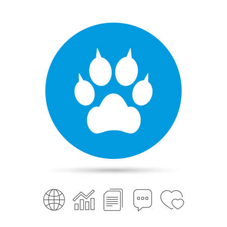 Dog paw with clutches sign icon. Pets symbol. Copy files, chat speech bubble and chart web icons. Vector
