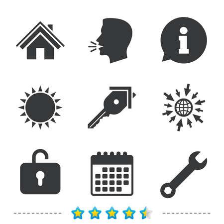 llave de sol: Icono de la tecla de inicio. Símbolo de herramienta de servicio de llave. Signo del armario. Página principal Navegación web. Información, vaya a los iconos de la web y del calendario. Sol y fuerte hablan símbolo. Vector Vectores
