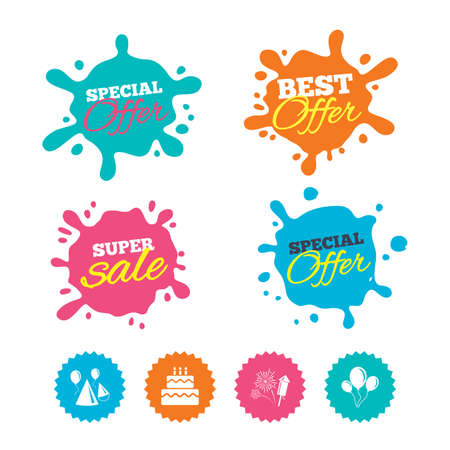 Best offer and sale splash banners. Birthday party icons. Cake, balloon, hat and muffin signs. Fireworks with rocket symbol. Double decker with candle. Web shopping labels. Vector