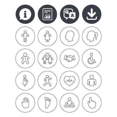 qa: Information, download and report signs. Human icons. Male and female symbols. Infant toddler and pregnant woman. Wheelchair for disabled. Success deal handshake. Question and answer or Q&A symbol