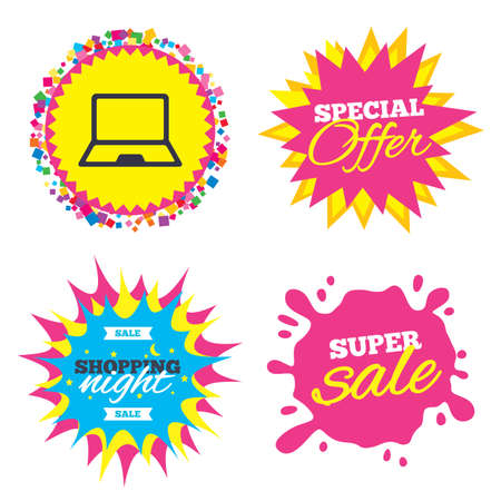 Sale splash banner, special offer star. Laptop sign icon. Notebook pc symbol. Shopping night star label. Vector