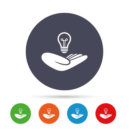 intellectual: Idea patent insurance sign. Hand holds lamp bulb symbol. Intellectual Property. Round colourful buttons with flat icons. Vector Illustration