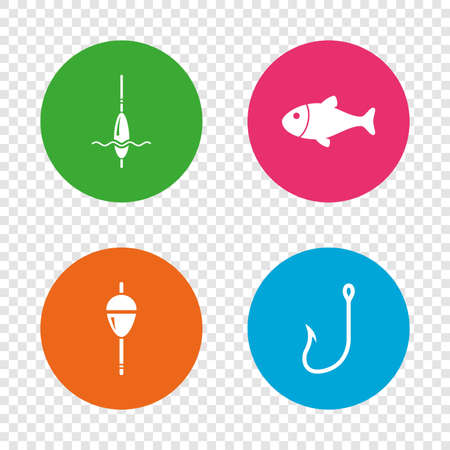 fishhook: Fishing icons. Fish with fishermen hook sign. Float bobber symbol. Round buttons on transparent background. Vector