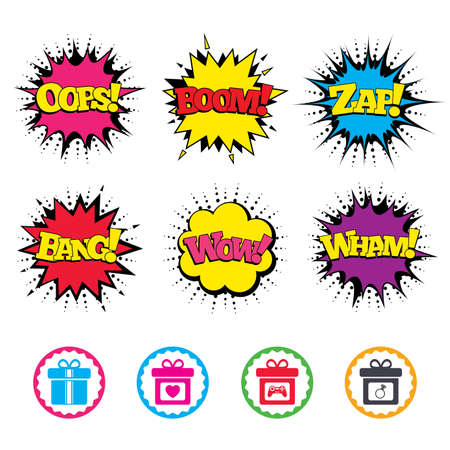 boom box: Comic Wow, Oops, Boom and Wham sound effects. Gift box sign icons. Present with bow and ribbons symbols. Engagement ring sign. Video game joystick. Zap speech bubbles in pop art. Vector
