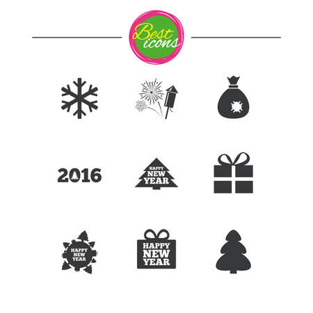 salut: Christmas, new year icons. Gift box, fireworks and snowflake signs. Santa bag, salut and rocket symbols. Classic simple flat icons. Vector