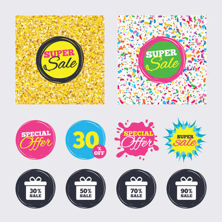 reductions: Gold glitter and confetti backgrounds. Covers, posters and flyers design. Sale gift box tag icons. Discount special offer symbols. 30%, 50%, 70% and 90% percent sale signs. Sale banners. Vector Illustration
