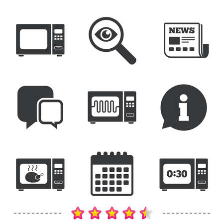 Microwave Oven Icons Cook In Electric Stove Symbols Grill Chicken