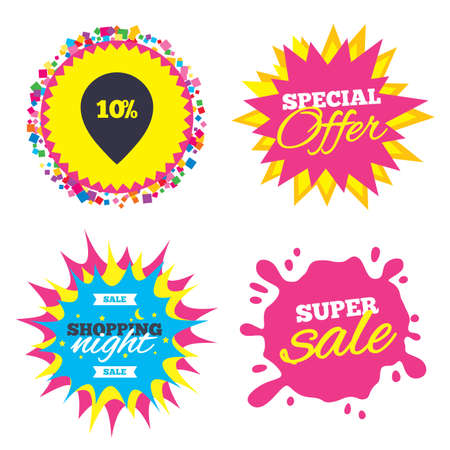 ten best: Sale splash banner, special offer star. 10% sale pointer tag sign icon. Discount symbol. Special offer label. Shopping night star label. Vector