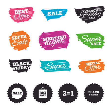 equals: Ink brush sale banners and stripes. Sale speech bubble icons. Two equals one. Black friday sign. Big sale shopping bag symbol. Special offer. Ink stroke. Vector