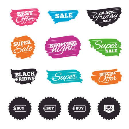 Ink brush sale banners and stripes. Buy now arrow icon. Online shopping signs. Dollar, euro and pound money currency symbols. Special offer. Ink stroke. Vector