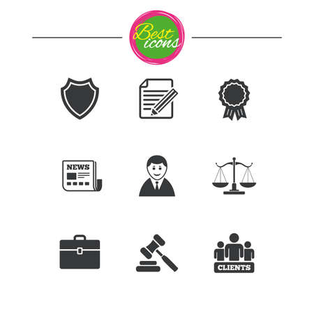 best protection: Lawyer, scales of justice icons. Clients, auction hammer and law judge symbols. Newspaper, award and agreement document signs. Classic simple flat icons. Vector