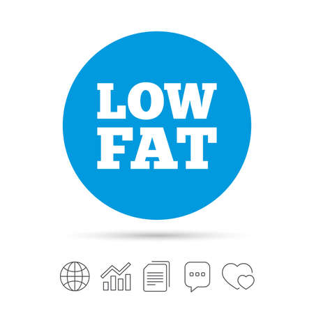 lowfat: Low fat sign icon. Salt, sugar food symbol. Copy files, chat speech bubble and chart web icons. Vector
