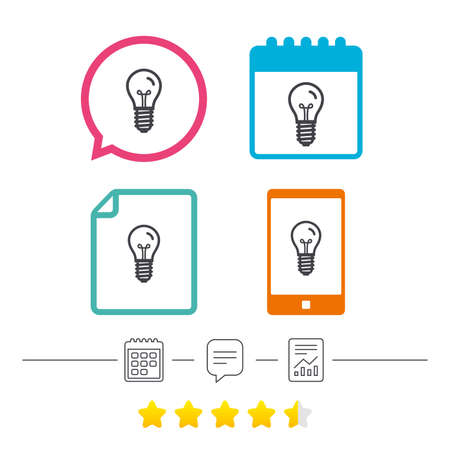 edison: Light bulb icon. Lamp E14 screw socket symbol. Illumination sign. Calendar, chat speech bubble and report linear icons. Star vote ranking. Vector