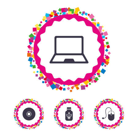 Web buttons with confetti pieces. Notebook pc and Usb flash drive stick icons. Computer mouse and CD or DVD sign symbols. Bright stylish design. Vector Illustration