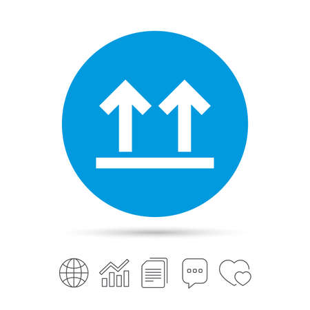 this side up: This side up sign icon. Fragile package symbol. Arrows. Copy files, chat speech bubble and chart web icons. Vector
