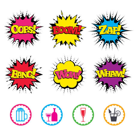 Comic Wow, Oops, Boom and Wham sound effects. Alcoholic drinks icons. Champagne sparkling wine and beer symbols. Wine glass and cocktail signs. Zap speech bubbles in pop art. Vector