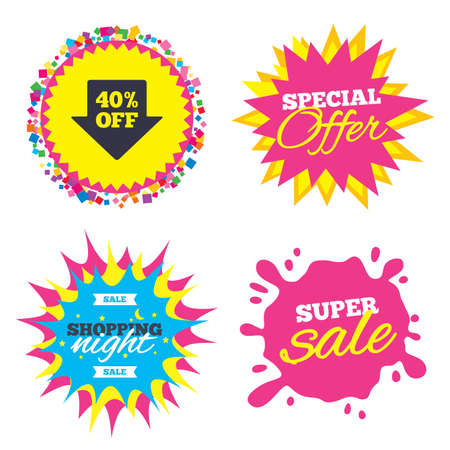 Sale splash banner, special offer star. 40% sale arrow tag sign icon. Discount symbol. Special offer label. Shopping night star label. Vector