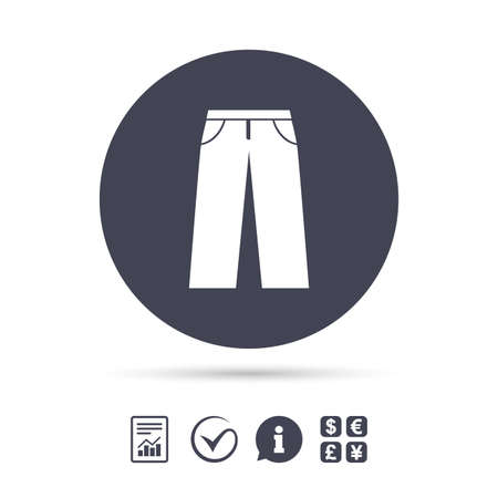 breeches: Mens jeans or pants sign icon. Casual clothing symbol. Report document, information and check tick icons. Currency exchange. Vector Illustration