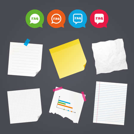 qa: Business paper banners with notes. FAQ information icons. Help speech bubbles symbols. Circle and square talk signs. Sticky colorful tape. Speech bubbles with icons. Vector