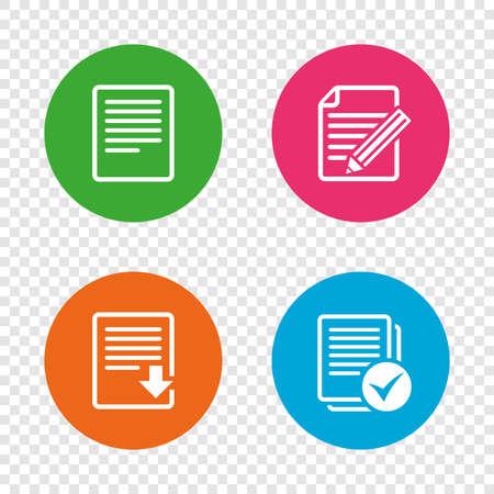 Datei-Dokument Symbole. Datei herunterladen Symbol. Inhalt bearbeiten mit Bleistift Zeichen. Wählen Sie eine Datei mit Kontrollkästchen. Runde Buttons auf transparentem Hintergrund. Vektor Vektorgrafik