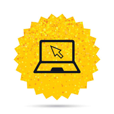 Gold glitter web button. Laptop sign icon. Notebook pc with cursor pointer symbol. Rich glamour star design. Vector
