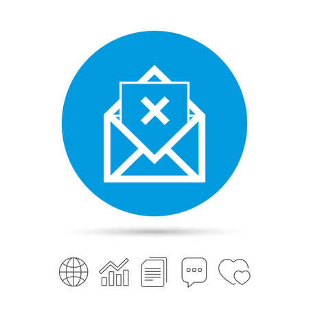 delete icon: Mail delete icon. Envelope symbol. Message sign. Mail navigation button. Copy files, chat speech bubble and chart web icons. Vector